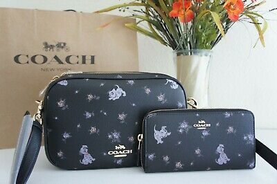NWT Coach 91126 & 91743 Disney X Dalmatian Print Jes Cross-body Bag & Wallet