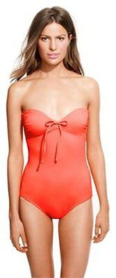 J.Crew NEON PAPAYA TIE-FRONT BANDEAU ONE-PIECE SWIMSUIT size 8 ()
