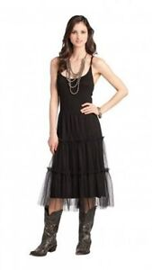 Western Dress Black S Cowgirl Tulle Rancho Estancia Country Spaghetti Strap