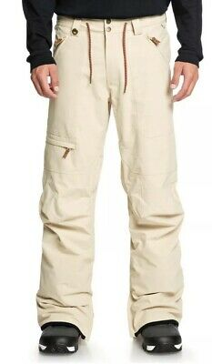 Quiksilver Elmwood Snow Pants Ski Snowboard 15K Men's XS Beige Mojave $170 NEW