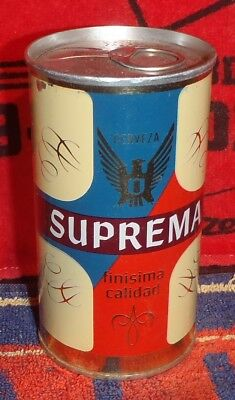 BOTTOM OPENED SUPREMA STRAIGHT STEEL PULL TAB BEER CAN MEXICO TAB INTACT