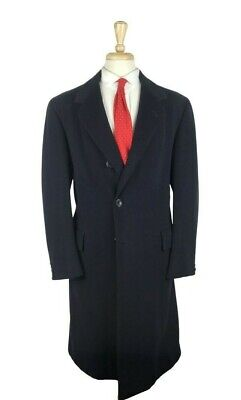 LUXURY $3695 Oxxford Clothes Cashmere/Wool 42L Navy Blue Overcoat Topcoat Long Mens Luxury Wool Cashmere