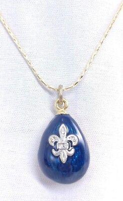 (W) Fleur De Lis BLUE Textured Enamel Egg Crystal Pendant Charm 18