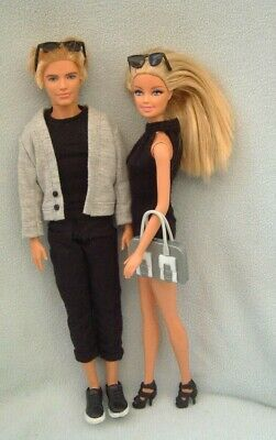 Barbie & Ken dolls - black grey CASUAL clothes - mini dress - shoes