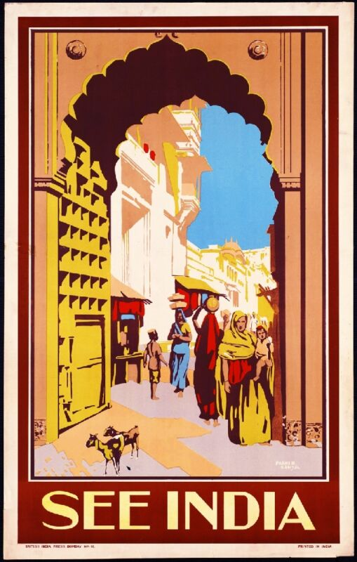See India #1 Vintage India Asia Indian Travel Advertisement Poster Art
