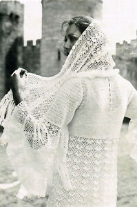 Vintage Crochet Pattern For Long Lace Wedding Dress And Shawl Free UK Post