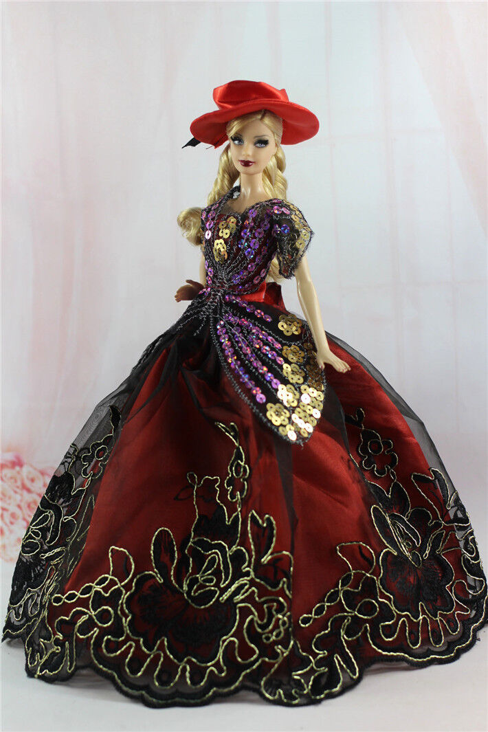 Gorgeous Princess Party Dress/Clothes Wedding Gown+hat For Barbie Doll N08