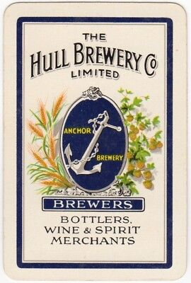 Playing Cards 1 Single Swap Card - Old Vintage HULL ANCHOR BREWERY Beer Wine 1
