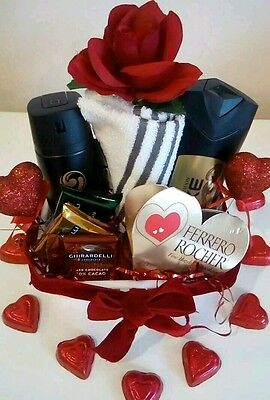 Men Boyfriend Dad Valentine Gift Basket Axe Bath Body Ferrero Rocher Chocolates