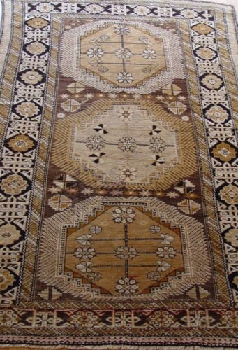 Antique 1880s Kuba Caucasian Camel Hair Hand Made Wool Oriental Rug 3