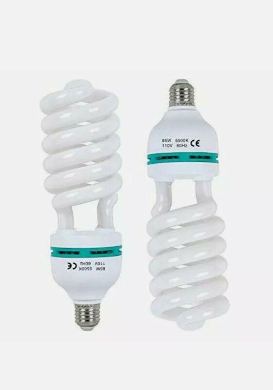 Aqirui 2 x 85W Light Bulb 5500K CFL Daylight Spiral Softbox Bulb in E27 Socket