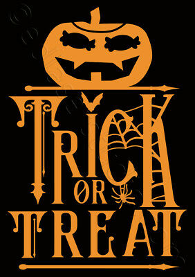 Trick Or Treat Halloween Stencil (Trick or treat Halloween Stencil Template Card making Paint Wood Crafts )