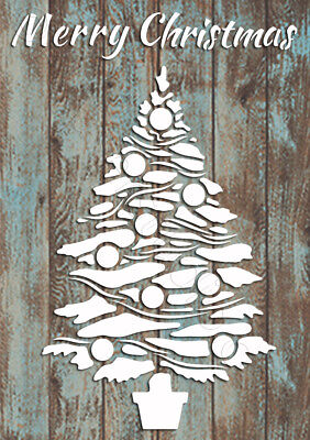 Merry Christmas Tree Stencil Vintage Card making Paint Furniture Crafts CH38 ()
