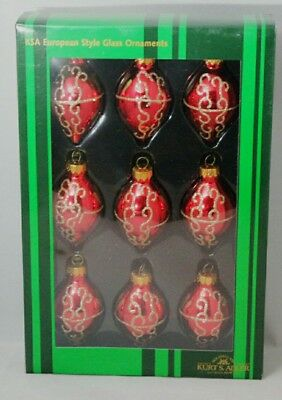 Finial Oval Ornament Set 9 Red Gold Glitter 2.5