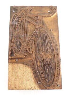 Vintage Brass Ink Printing Block Bicycle 1950s Letterpress
