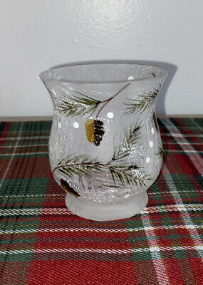 Yankee Candle Frosted Pine Cone Crackle HURRICANE VOTIVE Tea Light Candle Holder