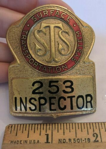 Vintage Surface Transportation System New York City NYC Trolley Inspector Badge