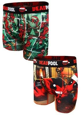 2 Pack Deadpool Deck The Halls Christmas Performance Boxer Brief Size L - NEW