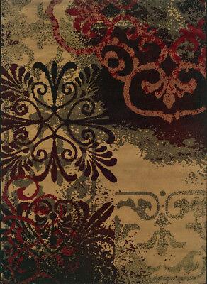 Beige Scrolls Fleur De Lis Abstract Traditional - European Area Rug Floral -