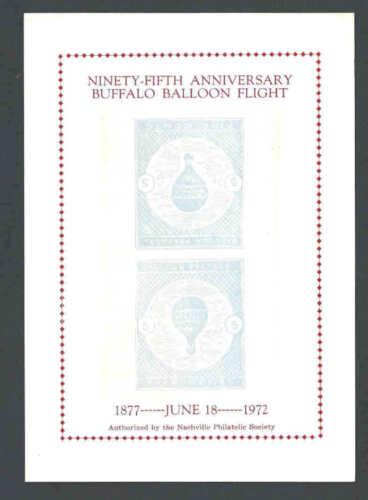 1972 95th Anniversary Buffalo Balloon Flt From Nashville Tn Souvenir See Info