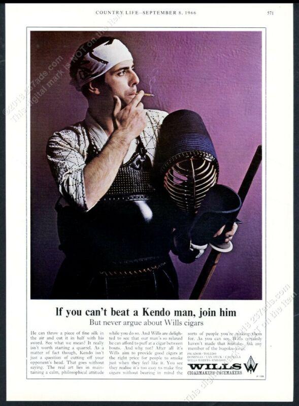 1966 kendo fighter photo Wills cigar vintage print ad