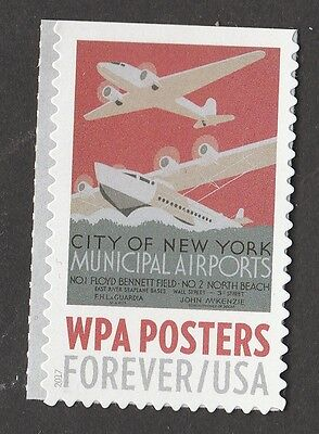 US 5184 WPA Posters New York Airports Forever Single MNH 2017 - $2.21