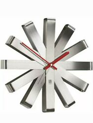 Umbra Stainless Steel Ribbon Modern 12-inch Quartz Movement Silent Wall Clock