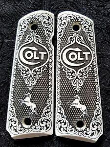 Colt 1911 Custom Engraved Ivory Scrimshaw Grips Scroll Rampant Horse Checkered