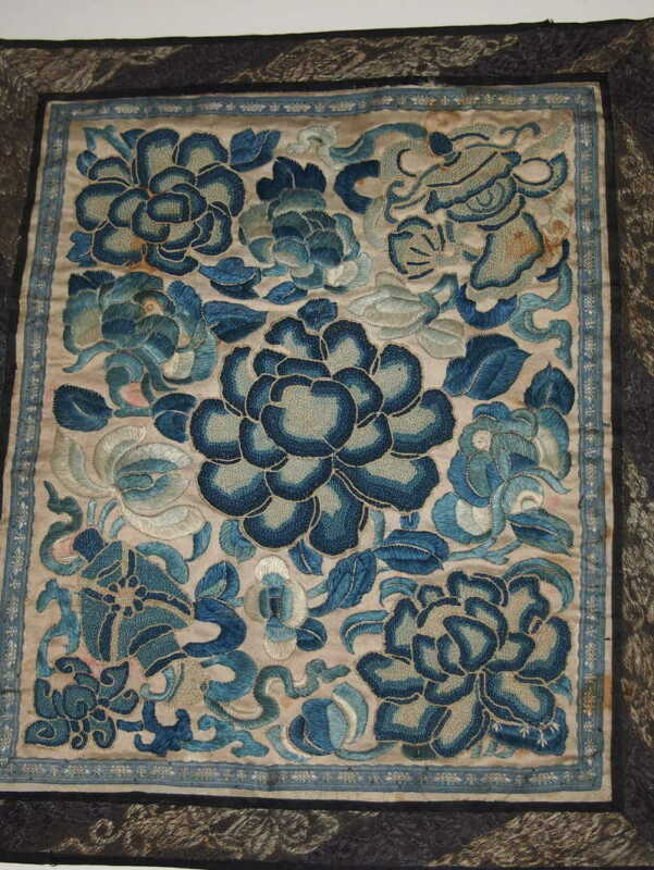 Antique Chinese Embroidery Silk Forbidden Stitch Panel Blue Flowers
