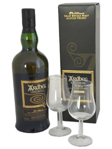 Ardbeg Uigeadail Single Malt Scotch Whisky mit 2 Nosing-Gläsern