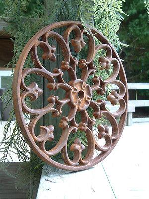 IRON CIRCLE ROSETTE MEDALLION Cast Iron Wrought Garden