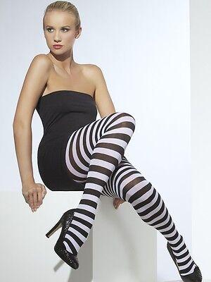 Halloween Kostüm Damen Blickdicht Gestreifte Strumpfhosen schwarz & weiß by