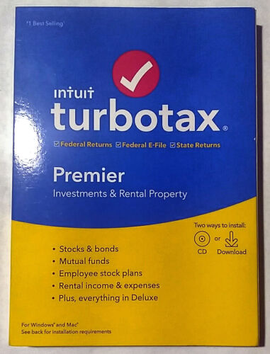 2019 Turbotax Premier in Factory Sealed Retail Box for Windows and Mac