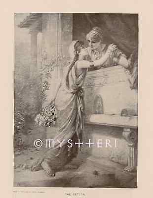 1902 Antique Vintage Art Print Sexy Women Kiss Gay Love Passion Lesbian Longing