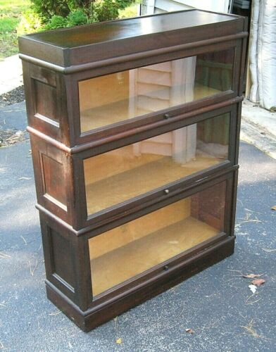 Antique MACEY 3 Stack MAHOGANY Barrister BOOKCASE Lawyers Stacking Sectional
