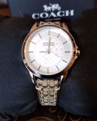 Womens COACH Watch Classic Signature Silver Tone Leather Brown Warranty Box Bag