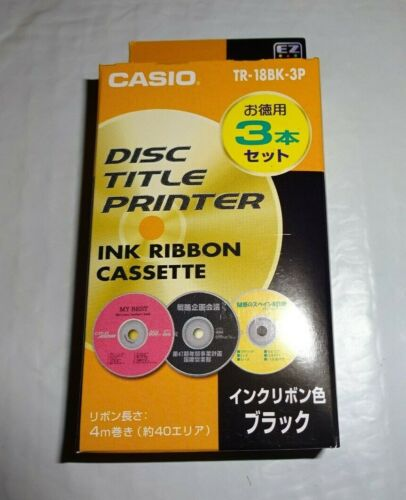 Genuine Casio TR-18BK-3P Black Ink Ribbon Cassette for CW Disc Title Printer