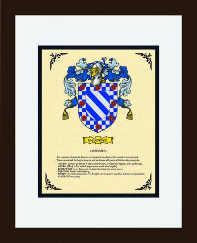 HERALDRY COAT OF ARMS ~ MELENDEZ FAMILY CREST ~ FRAMED