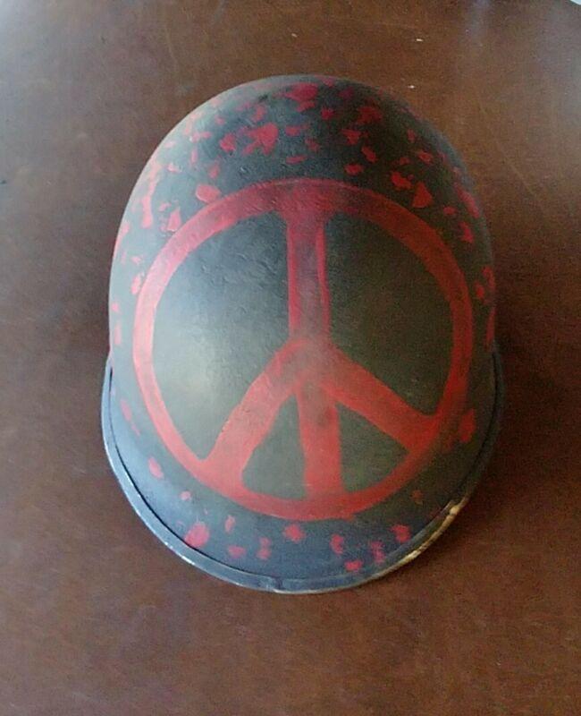 Hippie Folk Art Protest Helmet PEACE
