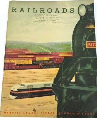 Railroads Merrill Lynch Investment Guide Vintage 1946 Book Pierce Fenner Beane