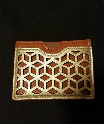 Madison West Leather  Tan  /Gold  Credit Card Case NEW