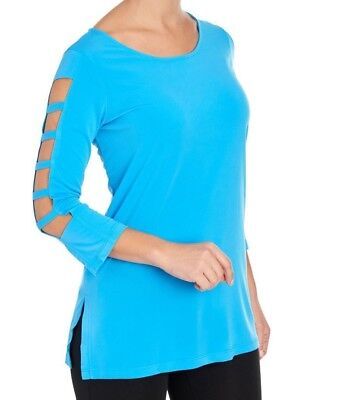 Solid Women's Stretchy Knit Scoop Neck 3/4 Cutout Sleeve Top Size M~XL - Sleeve Scoop Neck Knit