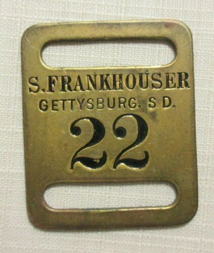 "GETTYSBURG S.D. SD SOUTH DAKOTA ~ S. FRANKHOUSER ""22"" HOTEL BAGGAGE LUGGAGE TAG"