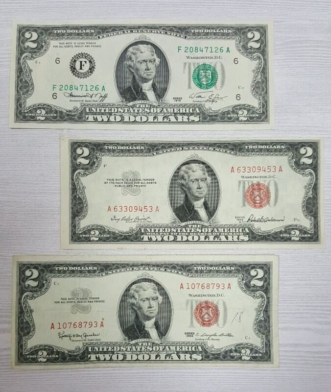 Old $2.00 Bill Collection 1953, 1963, & 1976 (3) Note Paper Money Collection