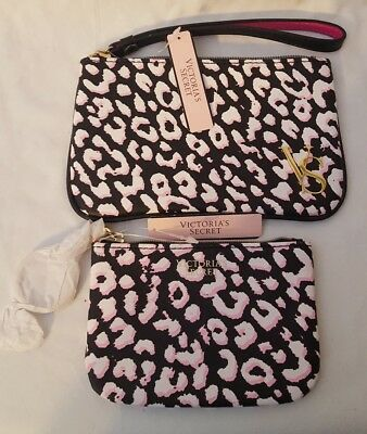Victorias Secret Purse   Coin Credit Card Mini   Key Chain Wallet Leopard Pink