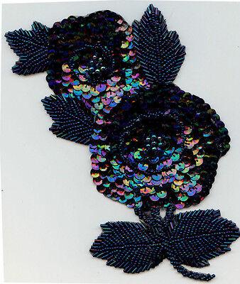 "8"" IRIDESCENT BLUE SEQUIN & BEAD FLOWER APPLIQUES FABRIC TRIM LOT OF 6"