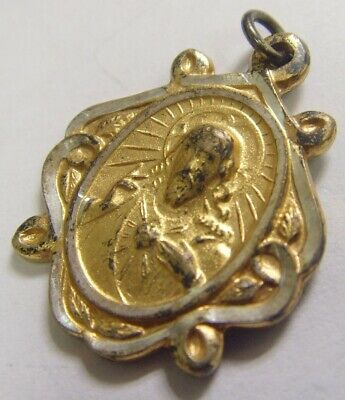 Antique enamel sacred heart charm matching ribbon