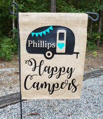 Personalized Happy Campers Camping RV Glamping Garden Flag Decor
