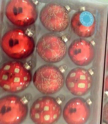 24 MARTHA STEWART ORNAMENTS CHRISTMAS RED GOLD GLASS NIB