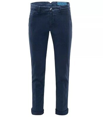 JACOB COHEN Bobby Comf Blue Soft Stretch Slim Chino Chinos Trousers RRP: £375.00